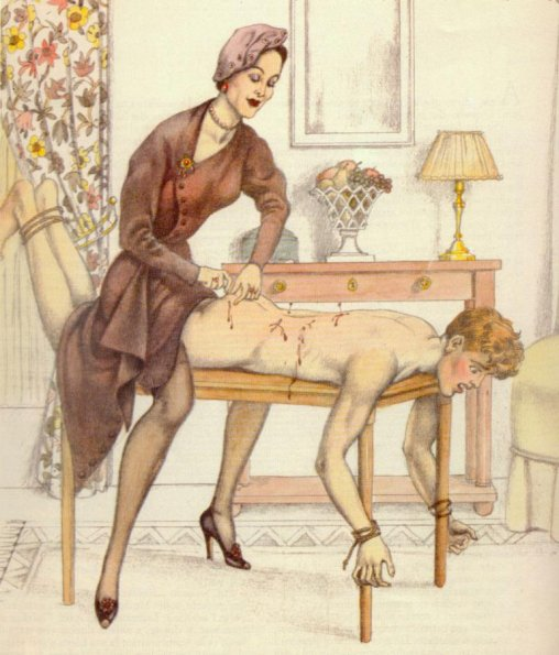 Woman playing with needles on a submissive's back, art by Bernard Montorgueil.