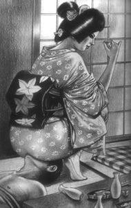 """Tea time Facesitting"", art by Harukawa Namio."