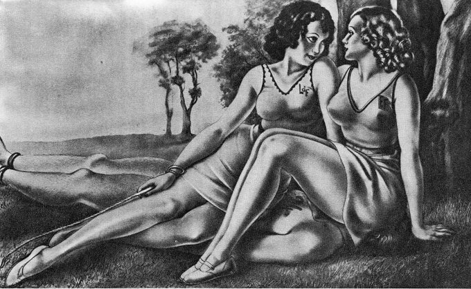 Two women sitting on a man's head and upper body, art by Wighead